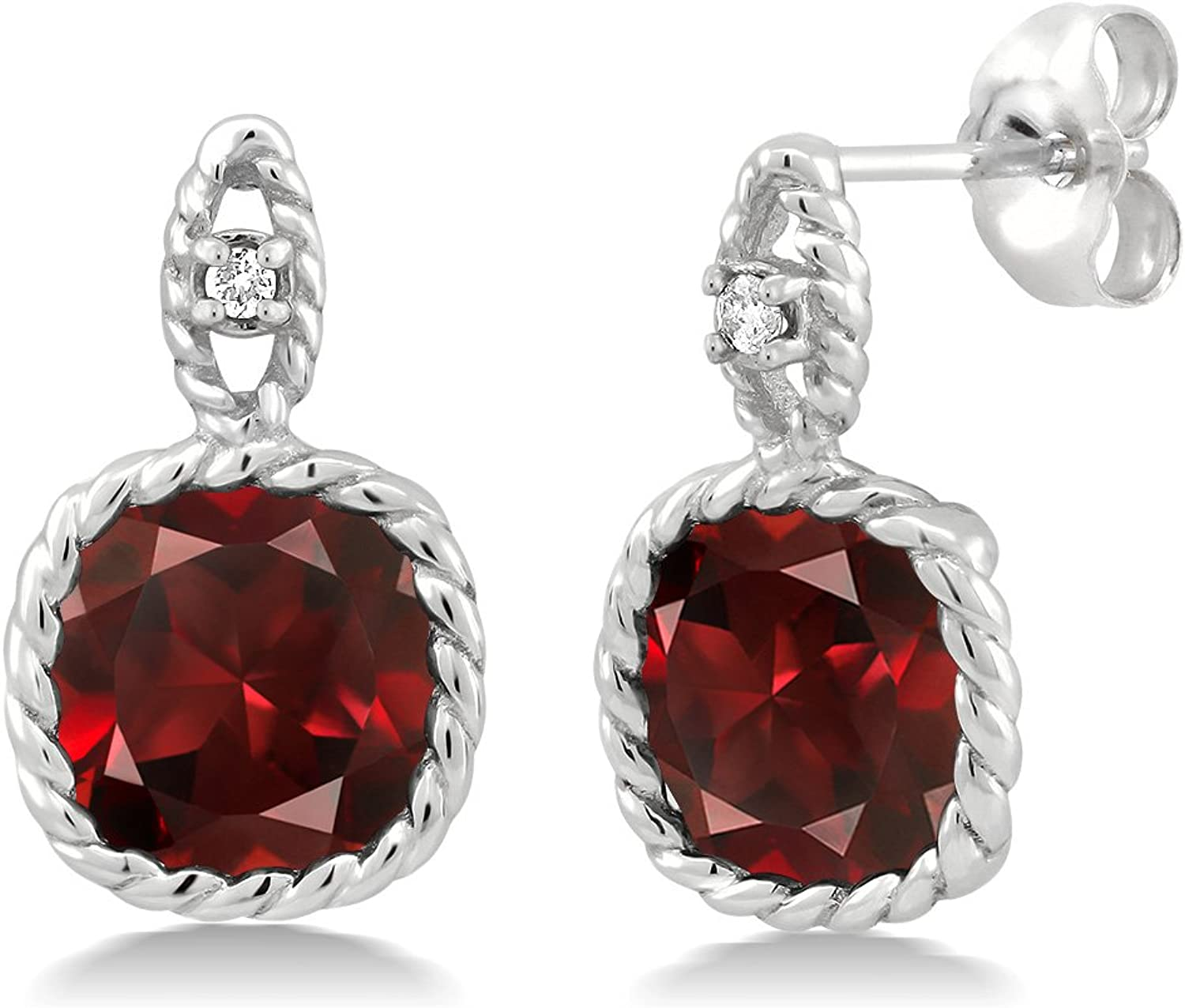 10K White gold 5.48 Ct 8mm Cushion Red Garnet and Diamond Cable Earrings