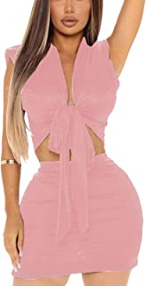 Ophestin Womens Sexy 2 Piece Club Outfits Shorts Dress Tank V Neck Tie Up Crop Top Bodycon Mini Skirts Set
