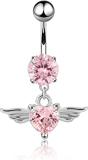 CABBE KALLO Belly Button Rings 14G Angel Wings Dangle Navel Rings Stainless Steel Body Piercing Jewelry