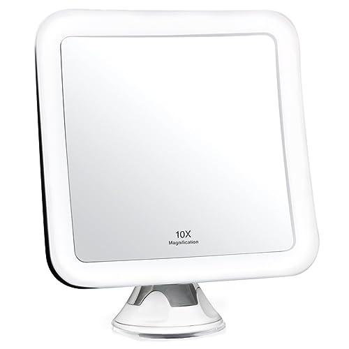 Fancii Miroir Grossissant 10x de Maquillage avec Lumières LED - Miroir Éclairé de Voyage - Ventouse d'Attache, Sans Fil, Ajustable à 360°, Miroir Éclairé Carré Portable