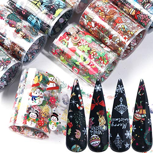 Christmas Nail Art Foils Stickers Winter Nail Art Supplies Nail Foil Transfer Decals Manicure Tips Wraps Design Acrylic Nails Supply Xmas Tree Snowflake Candy Snowman Nails Decoration (10 Sheets)