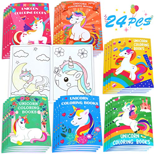 24PCS Kids Unicorn Coloring Books-Arts and Crafts for Girls Ages 3,4,6,8,10,12 Year Olds-Birthday Gifts Party Favors Valentines Easter Christmas Goodie Bag Stuffer-School Classroom Activity Supplies