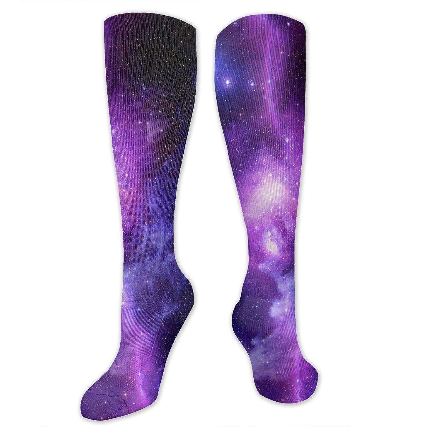 侵入する農学眠る靴下,ストッキング,野生のジョーカー,実際,秋の本質,冬必須,サマーウェア&RBXAA Women's Winter Cotton Long Tube Socks Knee High Graduated Compression Socks Space Galaxy Socks