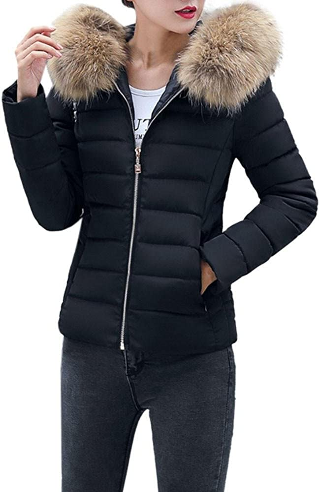 HGWXX7 Women's Fashion Solid Casual Faux Fur Collar Thicker Winter Slim Coat Overcoat Down Jackets