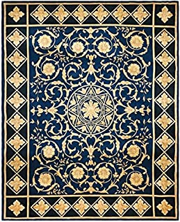 Safavieh Handmade Couture Florence Majesty Royal Blue/Black Wool Area Rug (China) - Navy/Black - 9' x 12'
