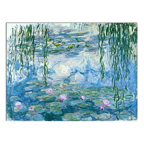 Wieco Art Water Lilies Floral Canvas Prints Wall Art by Claude Monet Famous Oil