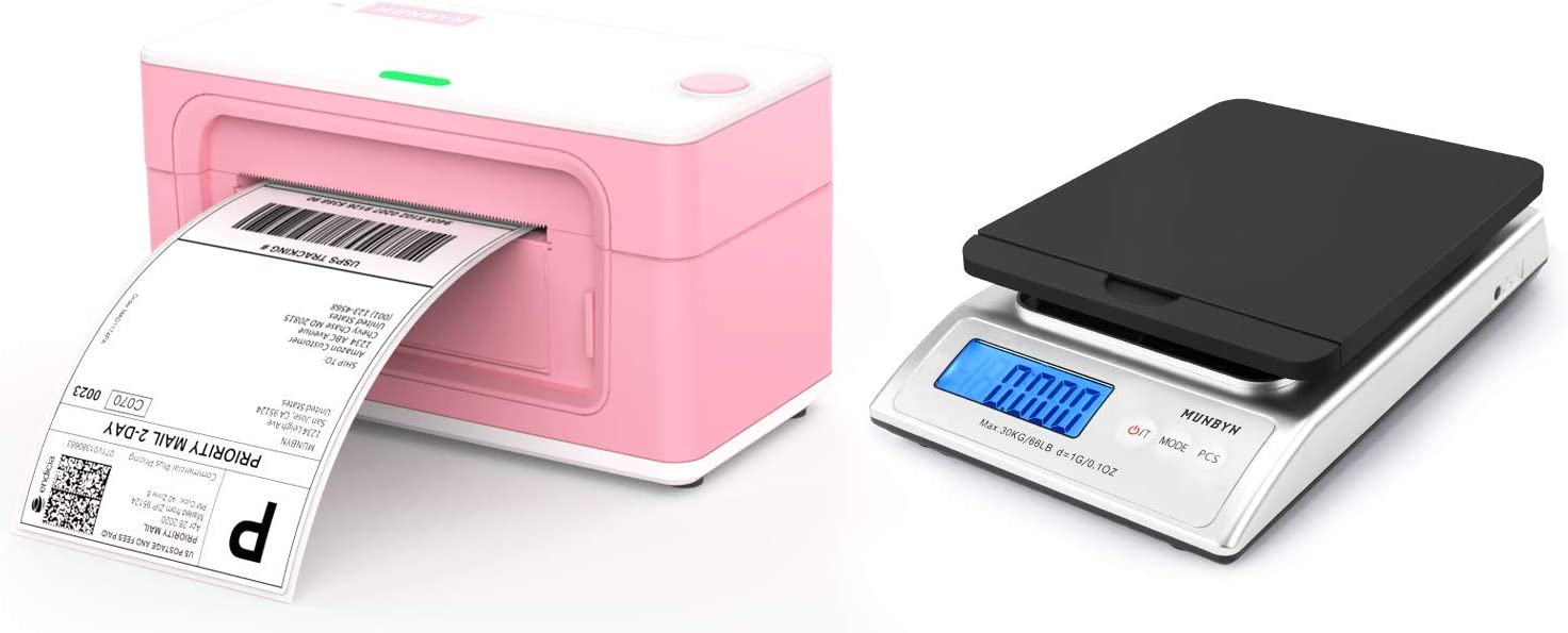 Pink Shipping Label Printer, [Upgraded 2.0] MUNBYN Label Printer Maker MUNBYN Digital Shipping Scale, 66lb Postal Scale with Hold and Tear Function