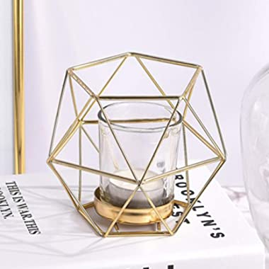 joyMerit 12Pack Industrial Iron Wire 3D Geometric Glass Tealight Candle Holder Wedding Party, Multi Uses, Flower Basket, Bons
