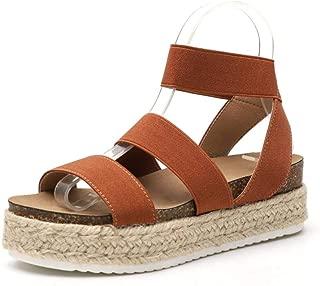 Womens Platform Sandals Elastic Strappy Shoes Open Toe Espadrille Ankle Adjustable Strap Lug Sole Sandal
