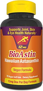 BioAstin Hawaiian Astaxanthin Vegan - 12mg, 75 Count - Hawaiian Grown Premium Antioxidant - Supports Recovery from Exercis...