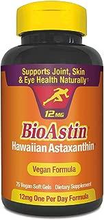 BioAstin Hawaiian Astaxanthin Vegan - 12mg, 75 Count -Hawaiian Grown Premium Antioxidant - Supports Recovery from Exercise + Joint, Skin, Eye Health Naturally