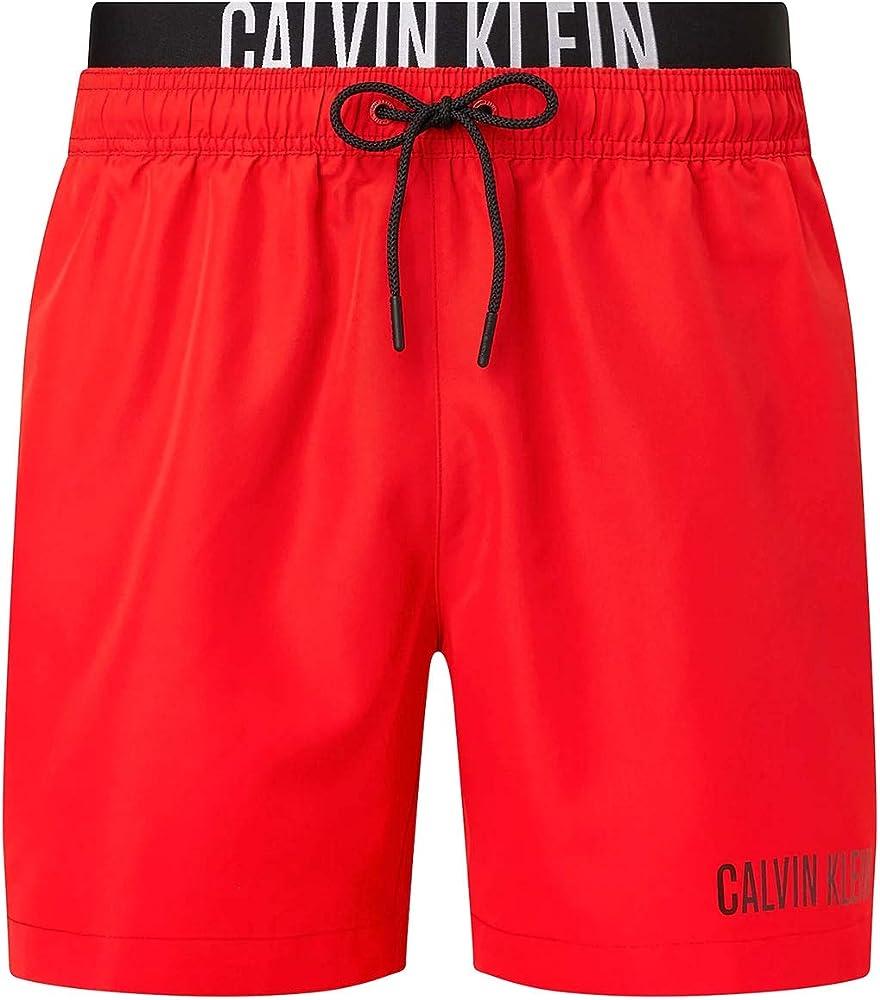 Calvin klein medium double wb, costume a pantaloncino per uomo,100% poliestere KM0KM00552