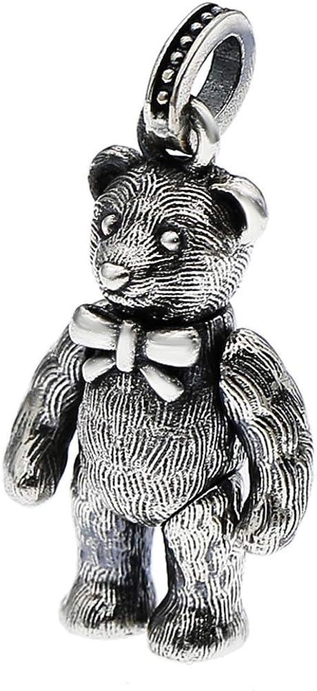 Vintage Black 925 Sterling Silver Teddy Bear Pendant Necklace for Men Women 55cm Chain