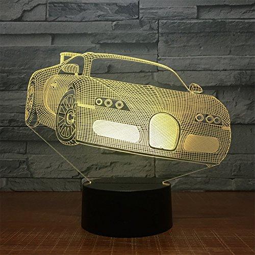 Luz Nocturna pequeña lámpara 3D Energía USB 7 Colores Increíble ilusión óptica 3D Grow Lámpara LED Formas del Coche Dormitorio para niños Noche Fiesta de decoración Fiesta Infantil