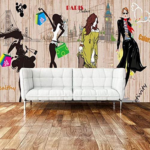 Achtergrond Muurdoek Mode Persoonlijkheid Creatieve 5d Naadloos Behang Bruidsjurk Mural Vrouwen Kleding Winkel Achtergrond 3D Wallpapers Behang Plakken Woonkamer Plakken De Muur 150cm×105cm