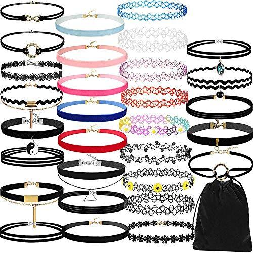 Houer 30PCS Gothic Tattoo lederen choker kettingen set voor dames zwart kant hanger kettingen sieraden Collier ketting cadeau