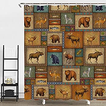 Cabin Wild Life Shower Curtain Retro Rustic Lodge Bear and Deer Moose Wolf Fish Primitive Fabic Shower Curtain Country Bathroom Curtains with Hooks Polyester Fabric Waterproof 69x70inches