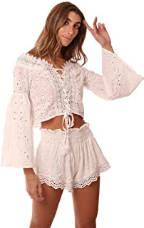 Tops Off The Shoulder Eyelet Lace Bell Sleeve White Bl