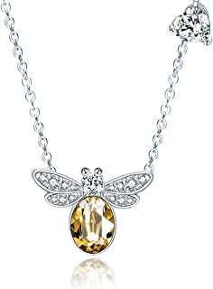 GAEA H Sterling Silver Necklace for Women with Swarovski Crystal Jewelry Women's Necklaces