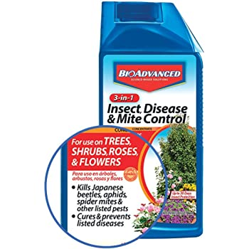 BioAdvanced 701285B 3-in-1 Insect Disease & Mite Control Concentrate, 32 oz, White
