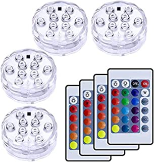 VIPMOON 4 Pack 10-LED RGB Submersible Lights, Multi Color Waterproof Light with 24 Keys Remote Controller for Vase Base, Floral, Aquarium, Pond, Party, Wedding, Halloween