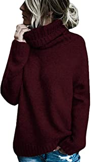 Hestenve Womens Pullovers Sweaters Turtle Neck Long Sleeve Loose Cozy Chunky Sweater Top Outfit