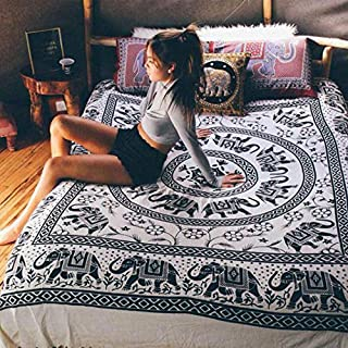 Royal Furnish Black and White Tapestry, Celestial Elephant Mandala Tapestry Wall Hanging Bedspread Bedcover, Hippie Psychedelic Boho Decor Wall Tapestry for Living Room, Dorm Room and Bedroom RMTB332
