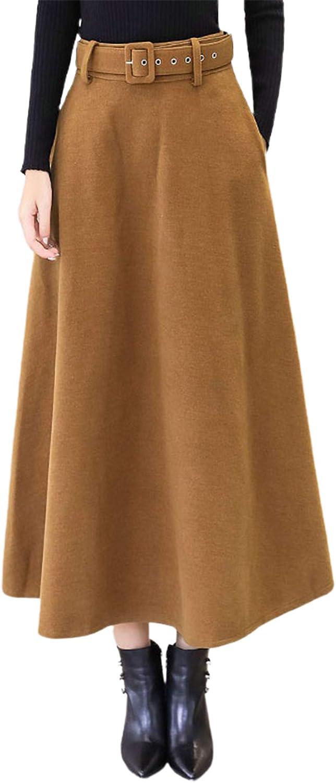 CHARTOU Women's Classic Wool Blend Ruffle Swing Maxi Long A Line Skirt with Pockets