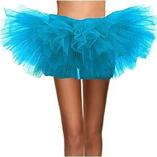 ASSN Women's Classic 80s Mini Puffy Tutu Halloween Run Bubble Ballet Skirt 6-Layered
