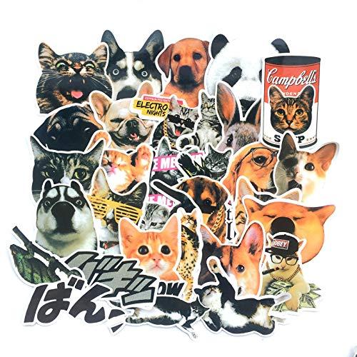 Lindo Pet Husky Meow pegatinas para equipaje monopatín con mosca muerta, cuaderno impermeable para coche, 30 unidades