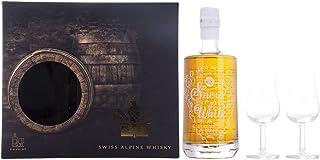 Säntis SNOW WHITE Single Malt Swiss Alpine Whisky PINEAU FINISH  8 48% Volume 0,5l in Geschenkbox mit 2 Gläsern Whisky