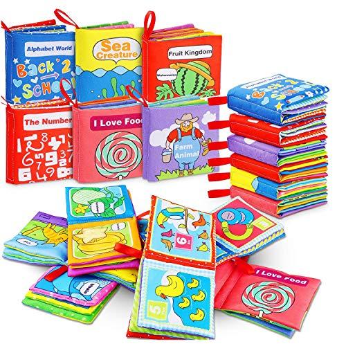Libros Blandos para Bebé, RenFox Libro de Tela Bebe No Tóxicos Libro Activity Bebé Anti-Tear Aprendizaje y Educativo Temprana Libro de Cognición Juguetes Niños Recién Nacido, 6 Piezas