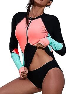 Aleumdr Womens Zip Front Long Sleeve Rashguard Shirt Color Block Print Tankini Swimsuit No Bottom