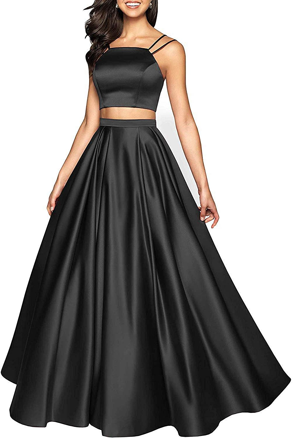 Rjer Two Piece Prom Dresses Long 予約販売 優先配送 Form Women Ball Satin Gowns for