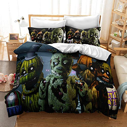 JSYJ Five Nights At Freddy's 3D Print Cartoon Duvet Cover Set Children Kids Boys Favorite Bedding Set 100% Microfiber Full Size Bed Set, 1/2 Pcs Pillow Case (Size : Us 173 * 218cm)
