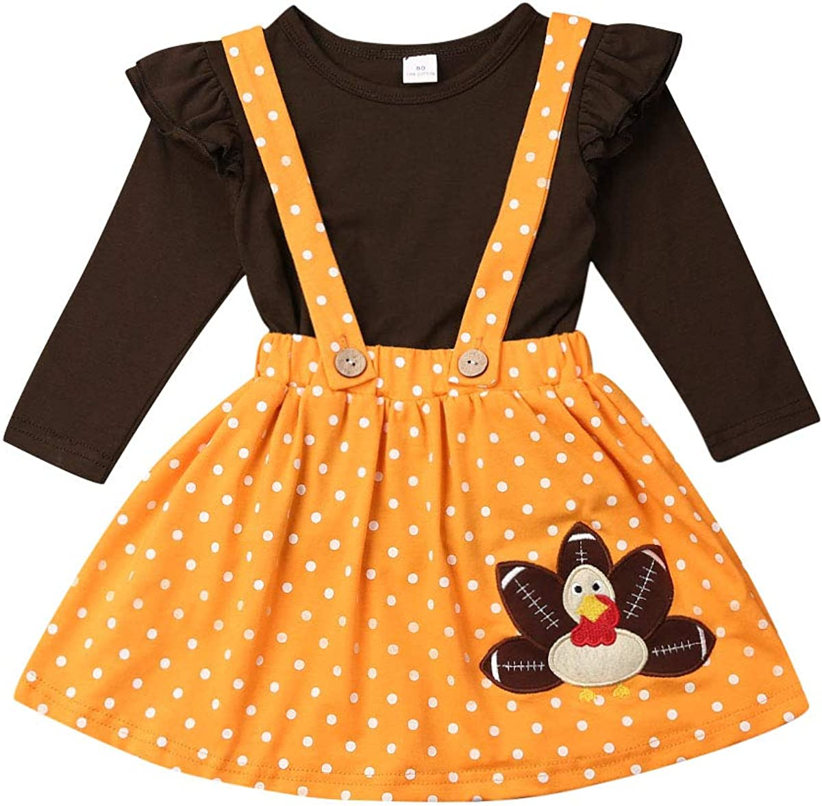 3PCS Toddler Ranking SEAL limited product TOP14 Baby Girls Thanksgiving Outfit Ruffle Little Sleeve