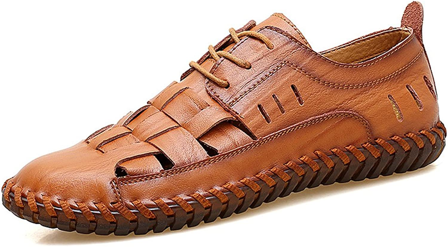Men's Casual Sandals Non-Slip Comfort Men's Leather Driving shoes Hollow Breathable Large Size Beach shoes Rubber shoes (color   Red Brown, Size   7 US)
