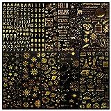 BETESSIN 12 Fogli Adesivi Scrapbooking Dorati 3D Stickers per Agenda Adesivi Glitter Decorativi per Diario Album Quaderno