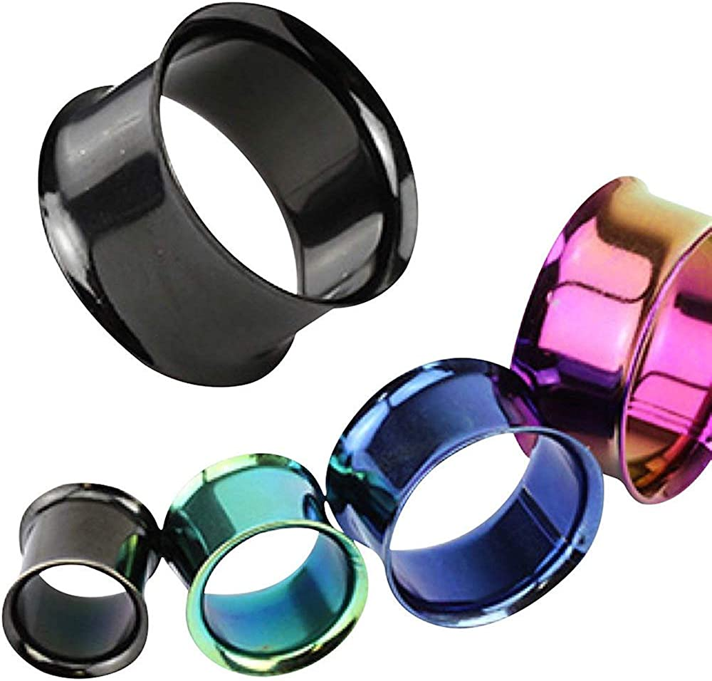 Covet Jewelry Double Flared Tunnel Plug Titanium IP Over 316L Surgical Steel