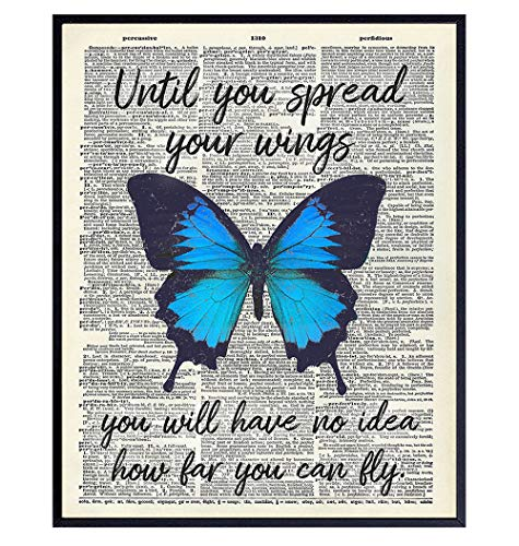 Butterfly Wall Decor - Motivational Wall Art Poster - Positive Quote Home Decor - Uplifting Encouragement Gift for Women, Girls, Teens - Inspirational Decorations for Bedroom, Office, Living Room