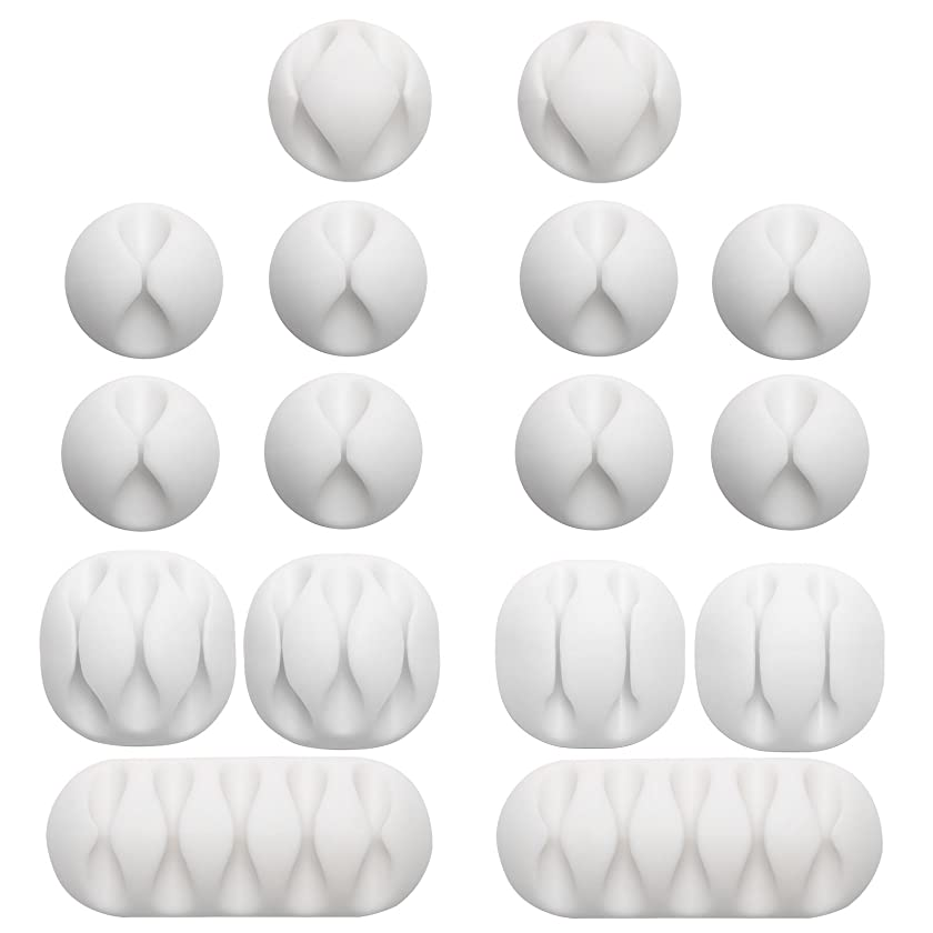 Gydandir 16 Pack Multipurpose Cable Clips Holders Self Adhesive Cord Holders Desk Cable Management Clips Wire Holder for Organizing Cables,Cords and Wires Home and Office (White)