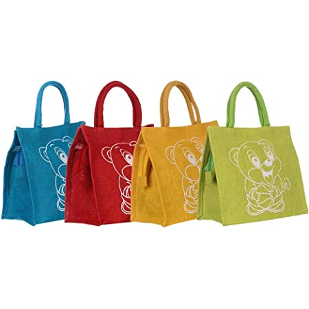 Sainik Jute Shopping Bag for Women and Men Multicolor Lunch Bag with Zip (Pack of 4)