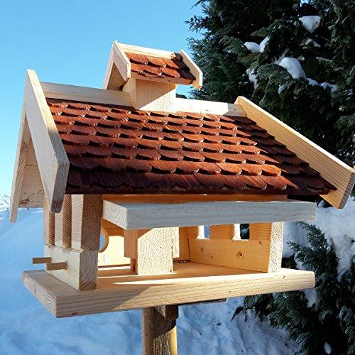 Vogelhaus-XXL mit Holzschindeln und Putzklappe lasiert Vogelhäuser-Vogelfutterhaus großes Vogelhäuschen-aus Holz Wetterschutz (Braun) - 4