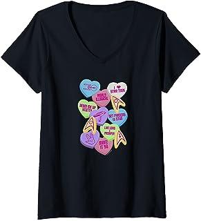 Femme Star Trek Valentine's Day Collage T-Shirt avec Col en V