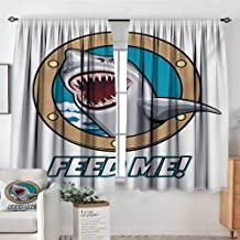 Elliot Dorothy Print Pattern Curtains Shark,Funny Vintage Feed Me Quote with Hungry Hound Shark Head in Ship Window Humor Print,Multicolor,for Room Darkening Panels for Living Room, Bedroom 63