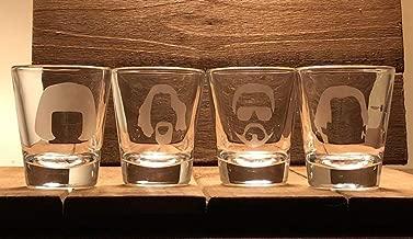 The Big Lebowski Shot Glass Set - 4 2.5oz Shot Glasses - The Dude - Walter - Donny- Maude - Lebowski - - The Dude Abides - -Lebowski Shot Glass