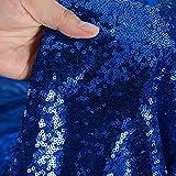 Tela de lentejuelas por el metro, Azul real material de lentejuelas, tela elástica con lentejuelas, tela de vestir, por metro,tela con purpurina para bodas, decoración del hogar (92 cm, Azul real)