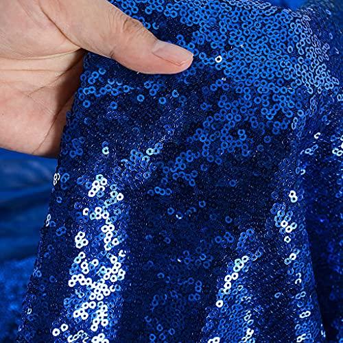 Tela de lentejuelas por el metro, Azul real material de lentejuelas, tela elástica con lentejuelas, tela de vestir, por metro,tela con purpurina para bodas, decoración del hogar (1 m, Azul real)