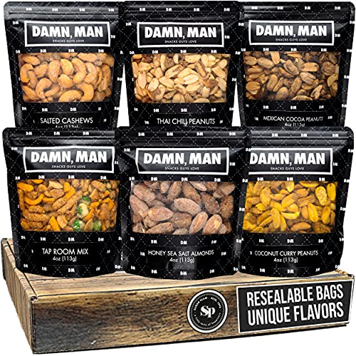 Nuts Gift Basket for Men – Great Gift for Men, Dad - 6 Unique, Small Batch Nut Varieties in Resealable Bags, Includes Almonds, Cashews, Peanuts – Perfect Birthday Gift for Men or Heathy Snack