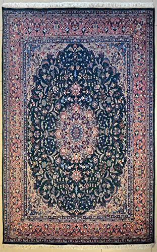 etnico Kashan-Teppich, 182 x 271 cm, mit doppeltem Knoten, handgefertigt, orientalisch, hochwertig, Grün